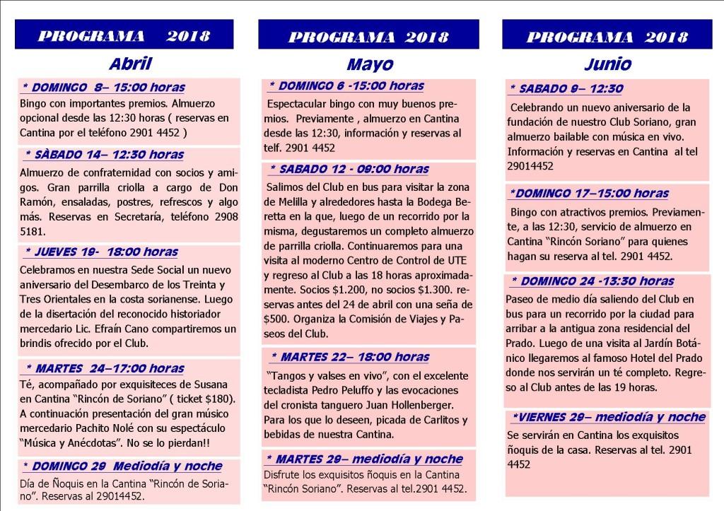 PROGRAMA de actividades -2018 -