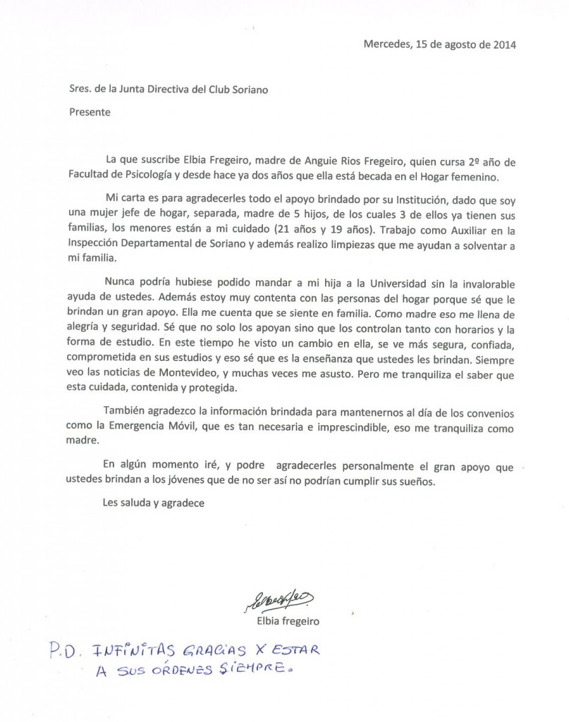 Carta de madre de becaria 2014